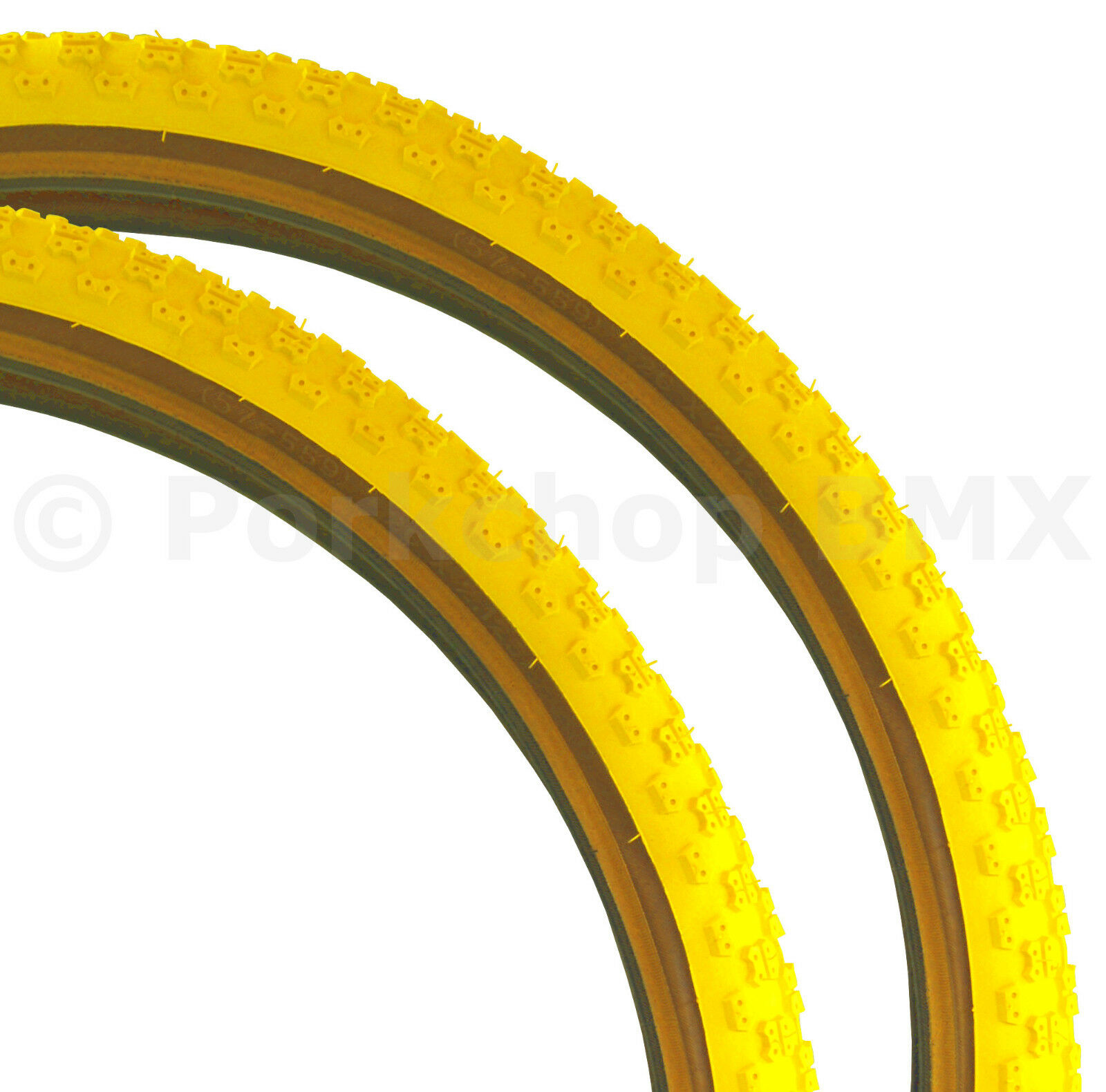 Kenda Comp 3 III old school BMX skinwall  gumwall tires PAIR 26  X 2.125  YELLOW  perfect