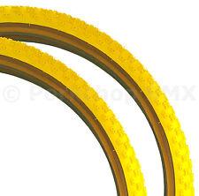 """Kenda Comp 3 III old school BMX skinwall gumwall tires PAIR 26"""" X 2.125"""" YELLOW"""