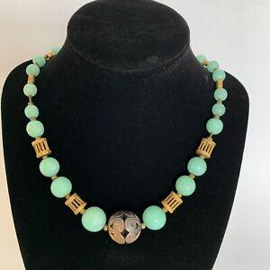Necklace-Vintage-Louis-Rousselet-Green-Peking-Glass-Beads-Art-Deco-Gold-tone