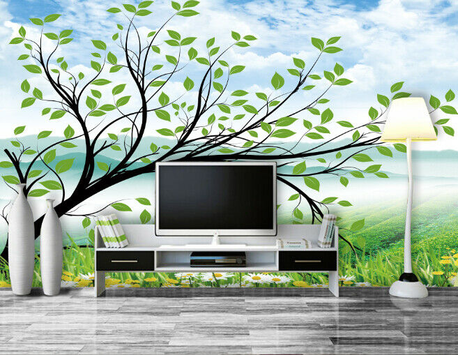 3D Tree Grün 485 Wallpaper Murals Wall Print Wallpaper Mural AJ WALL AU Lemon