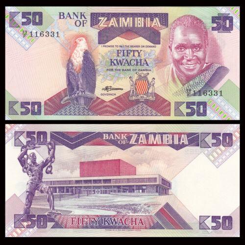 Lot 10 PCS UNC P-28 ND 1986-1988 Zambia 50 Kwacha