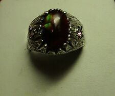 MENS 5.60CT FIRE AGATE W/ STUNNING DESIGN AND TOURMALINES STERLING HANDSOME RING