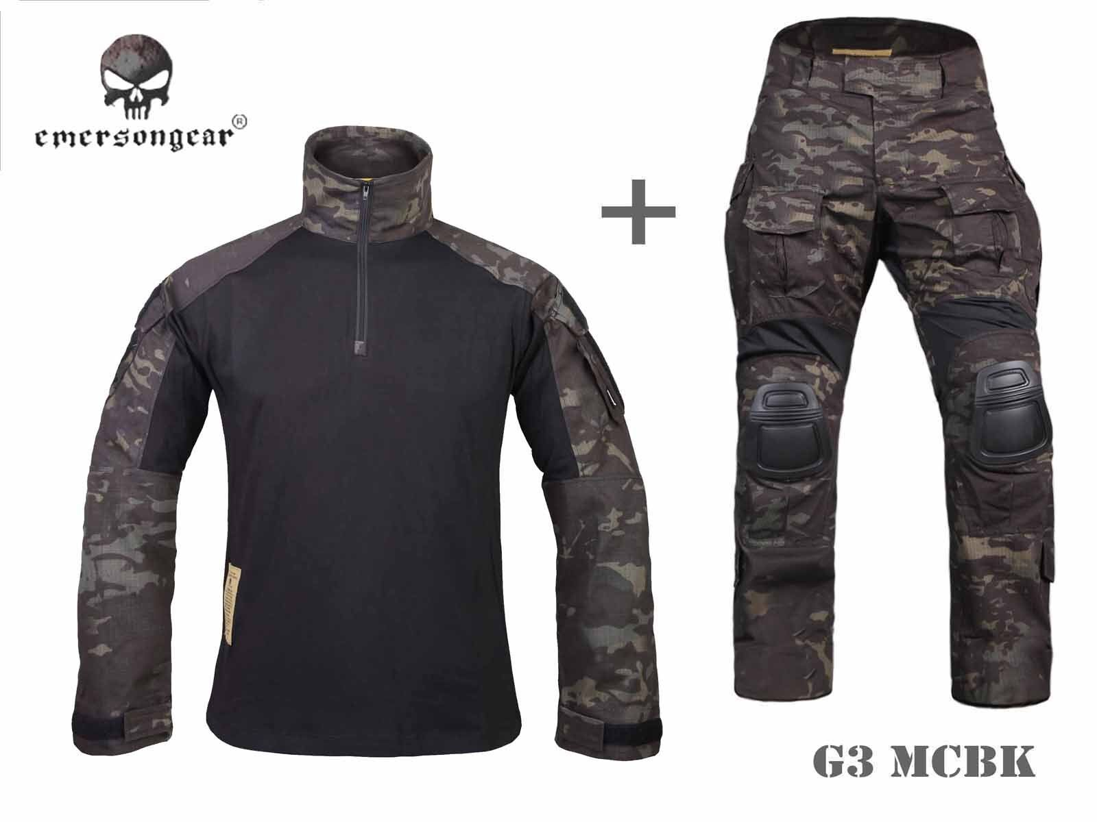 Emerson  Airsoft Hunting bdu Uniform Combat Tactical G3 Uniform and Knee Pad MCBK  best quality best price