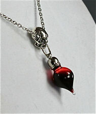 Gothic Skull Vampire Glass Tear Drop Blood Charm Pendant Necklace