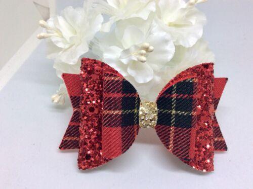 Glitter Hair Bow Girls  Red Tartan Hair Bow hair Clip
