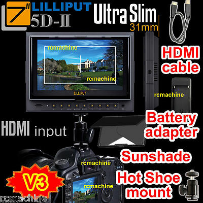 """Lilliput 7"""" 5D-II 5D2 HDMI Monitor Canon 5D Mark II+HDMI cable+Hot shoe stand"""