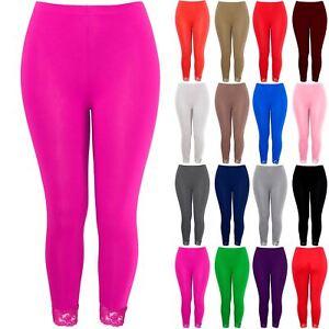 c84812e83ca8f8 Plus Size Ladies Womens 3/4 Length Leggings Floral Lace Cropped Trim ...