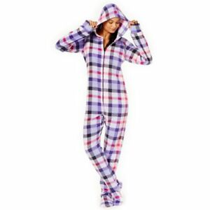 65ae36f05e9 Jenni by Jennifer Moore Hooded Footed Printed Pajama Jumpsuit XS Purple  Plaid