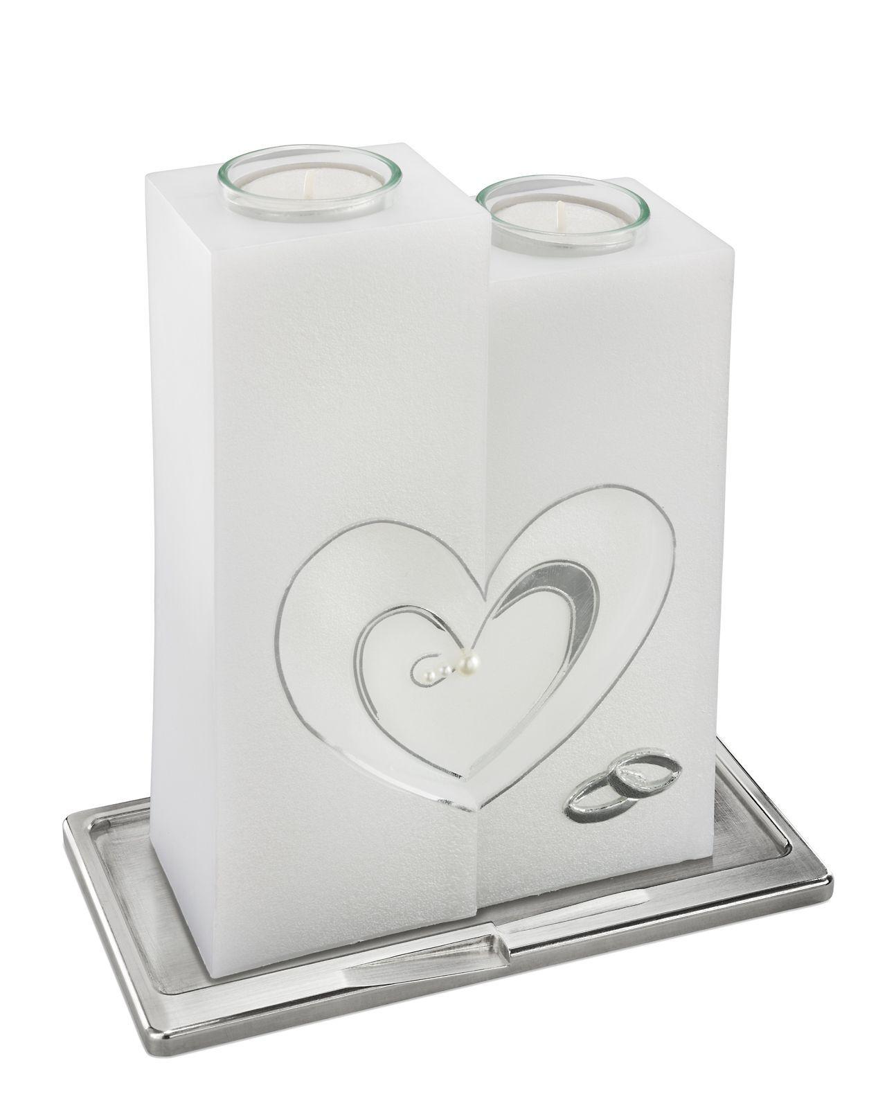Hochzeitskerze 200x60 Perlmutt mit Teelichteinsatz und silbernen Herz + Ringen