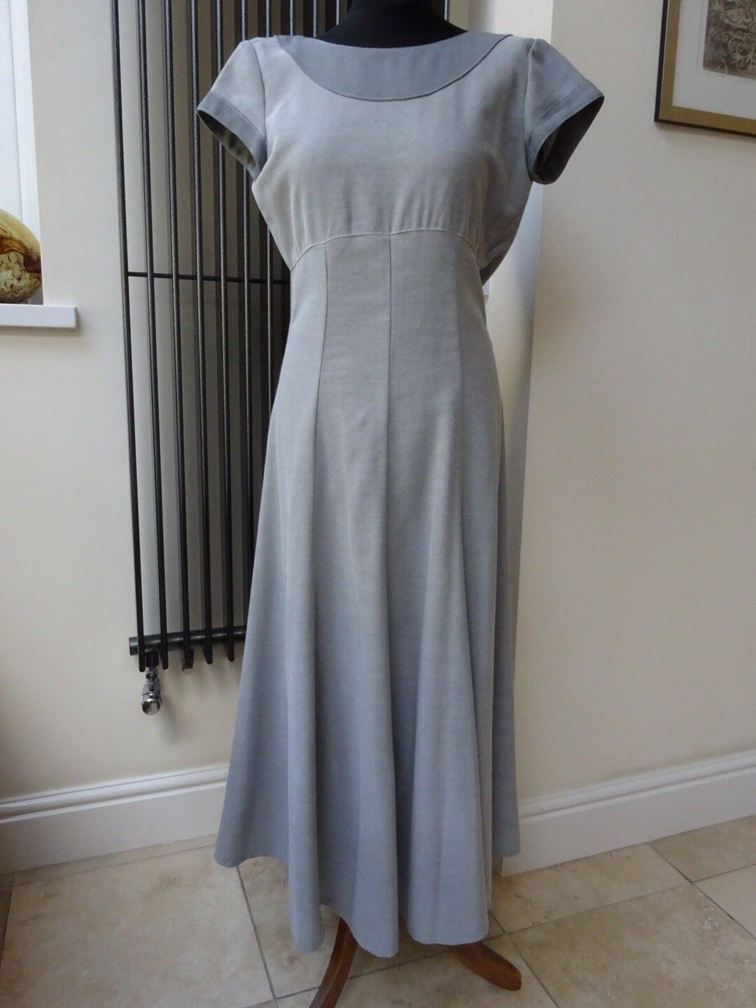 Vintage Long Grey Dress Evening Wedding Size 10 Excellent Condition