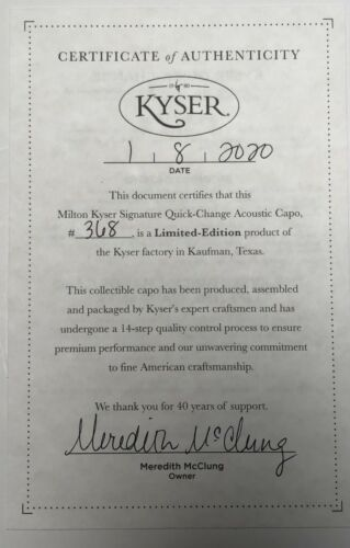 "Kyser 40th Anniversary /""Milton/"" Quick Change Limited Edition Capo Chrome"