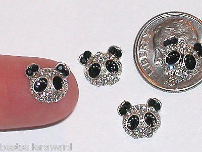 1pc miniature dollhouse tiny little findings flatbacks lucky crystal Panda Bear