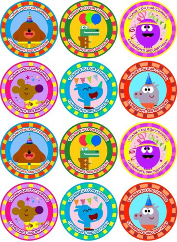 2.55 inch Thank you for coming Hey Duggee 12 personalised Stickers