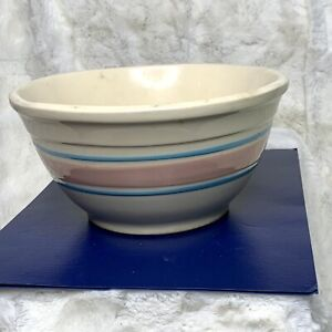 "Vintage McCoy Oven Proof Pottery USA 8"" Mixing Bowl Blue & Pink Stripe w Crazing"