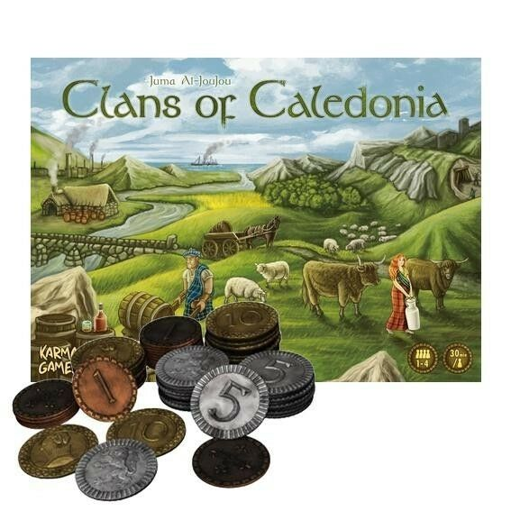 Clans of Caledonia Board Game, with Metal Coins