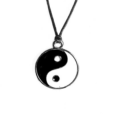 Yin Yang Pendant Black White Necklace Choker Charm with Black Cord Ying Yang