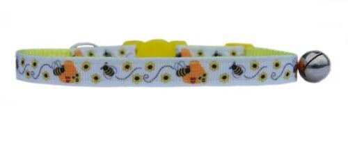 Yellow White Hive /& Honey Bee  ribbon safety kitten cat collar bell