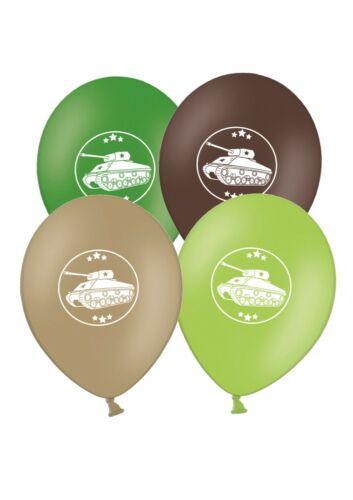 """Armée Militaire Tank 12/"""" Vert et Marron Assortis Latex Ballons Pack De 6"""