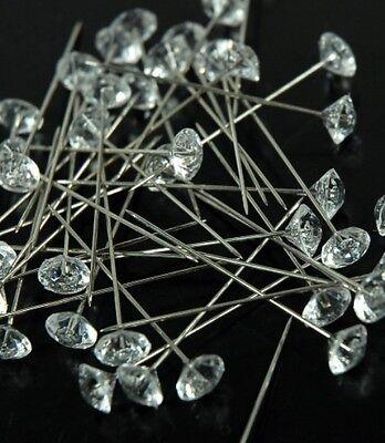 WEDDING BOUQUET FLORAL FLOWER GEMS Crystals Jewels Pins Corsage Diamonds 100 Pin