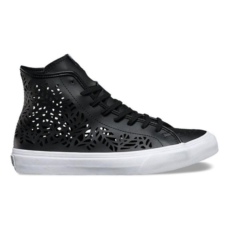 VANS Sk8 Hi Decon (Cutout) Leaves/Black Leather Women's Skate Shoes
