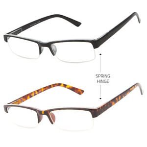 1fa29207024b Image is loading Men-Rectangular-Half-Rimless-Spring-Hinge-Reader-Reading-