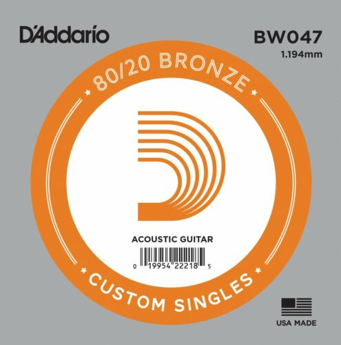 5 X D/'Addario BW047 80//20  Bronze Wound  Acoustic Guitar Single String .047
