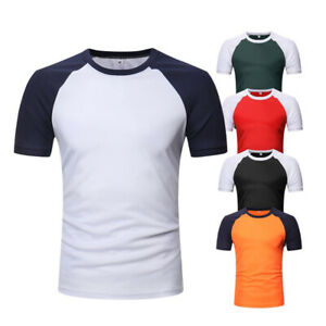 Men-Causal-Slim-T-shirt-Raglan-Sleeve-Colorblock-T-Shirt-Boy-Sport-Short-SlLN