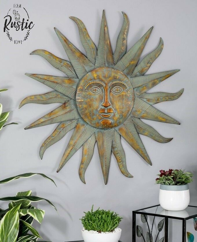 Large Metal Sun Wall Decor Bronze Green, Large Outdoor Sun Wall Hanging