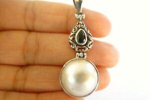 White-Mabe-Pearl-Green-Quartz-925-Sterling-Silver-Pendant