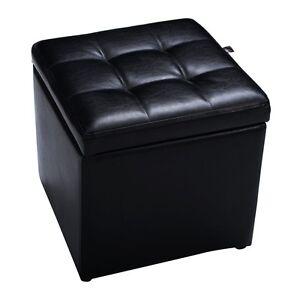 Large Faux Leather Folding Ottoman Pouffe Seat Foot Stool