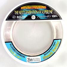 Bojin Fishing Line 100% Fluorocarbon Leader 50lb 25m Tough Monofilament Trace