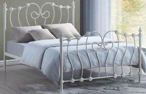 cd86374336f9 Inova Double 4ft6 Ivory Victorian style metal bed frame. Free Delivery ...