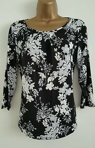 NEW-Ex-M-amp-Co-Floral-Print-Black-White-Grey-Casual-Top-Blouse-Size-8-18