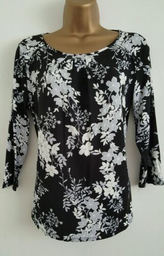 NEW Ex M/&Co Floral Print Black White Grey Casual Top Blouse Size 8-18