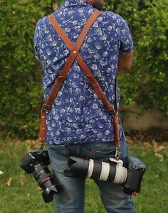 Leather-Dual-Camera-Harness-Leather-Shoulder-Strap-Slider-Release-Lens-DSLR-Belt