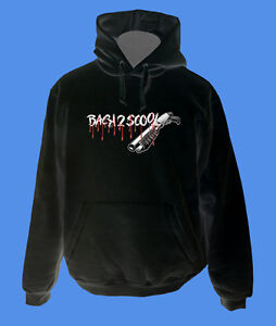 Hoody-Kapuzenpullover-Back2Scool-Gun-move2be-Schule-schwarz-M-L