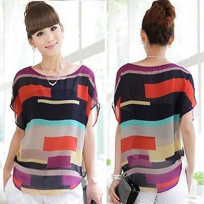 Summer Women Blouse Printed Loose Chiffon Blouse Short Sleeve Casual Shirt Tops