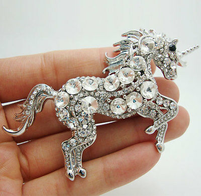 Hot Sale Bride Unicorn Horse Clear Rhinestone Crystal Brooch Pin Fashion Animal