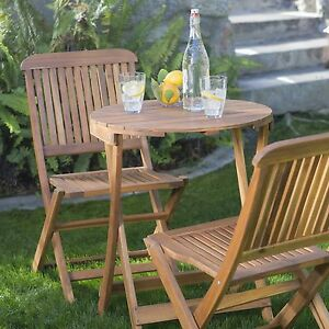 acacia wood folding bistro patio set outdoor home furniture garden