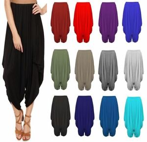Women/'s Harem Baggy Lagen Look Ali Baba Stretch Pants Trousers Leggings