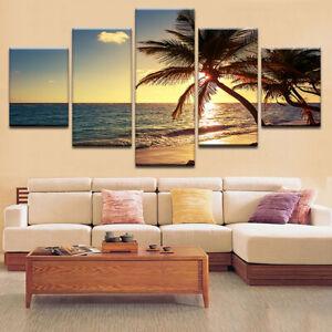 5-Pcs-Sunset-Beach-Canvas-Printing-Picture-Modern-Art-Wall-Decor-Frameless-HOT