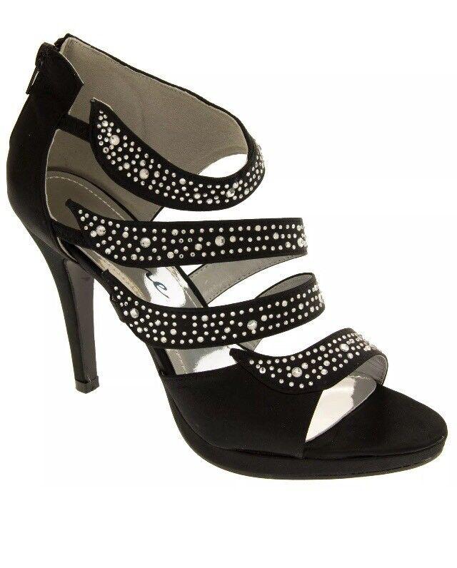 BN Divine Diamante Black High Heel Satin Evening Party Wedding Prom Shoes UK 7