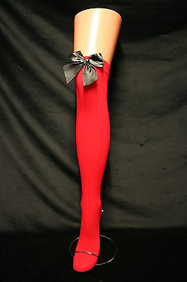 BLACK SATIN BOW ON RED OVER THE KNEE STOCKINGS/ HOLD UPS/SOCKS LONG & SEXY