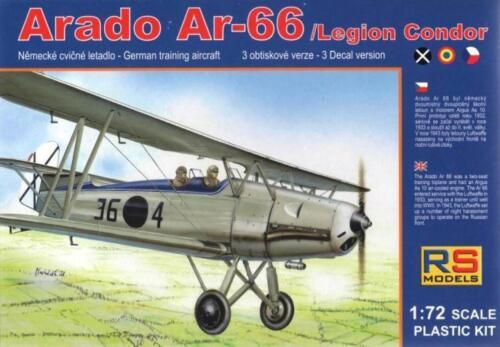 SPANISH, CZECH /& ROMANIAN AF MKGS #60 1//72 RS MODELS ARADO Ar-66 LEGION CONDOR