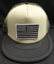 440dbf8f196 Camo Camouflage Mesh Snapback Hat   Cap With Grey and Black American Flag  Patch