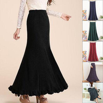 2017 Fall Winter Womens A-line Woolen Knit Maxi Skirt Ladies Ruffle Wool Skirts