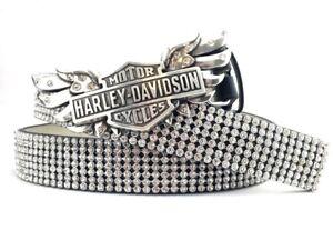 """Harley Davidson Crystal Wing Logo Buckle w Clear Rhinestone Leather Belt 1X 43"""""""