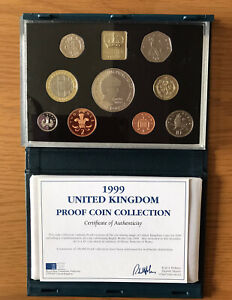 Royal Mint 1999 United Kingdom Proof Coin Collection Set With COA.