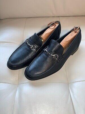 Black Leather Slip-on Horse-bit Loafer