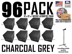 HUGE-96-Pack-Acoustic-FOAM-Wedge-Wall-Tiles-for-Studios-amp-Soundproofing-12x12x1